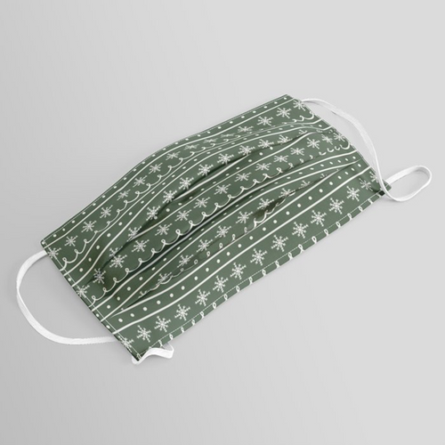 Green Snowflake Pattern Washable Face Mask