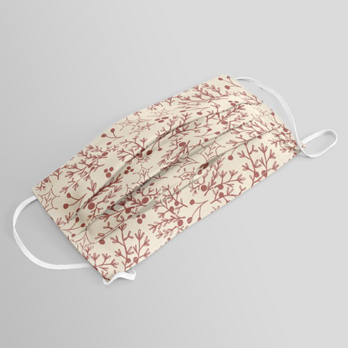 Poly Fabric Red Christmas Branch Washable Face Mask