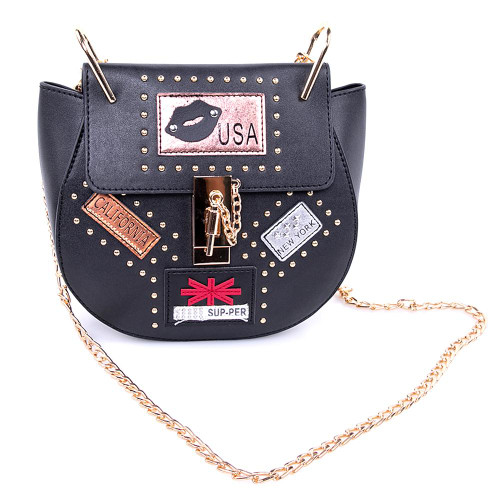 Handbag USA Nights Black With Golden Button Lock