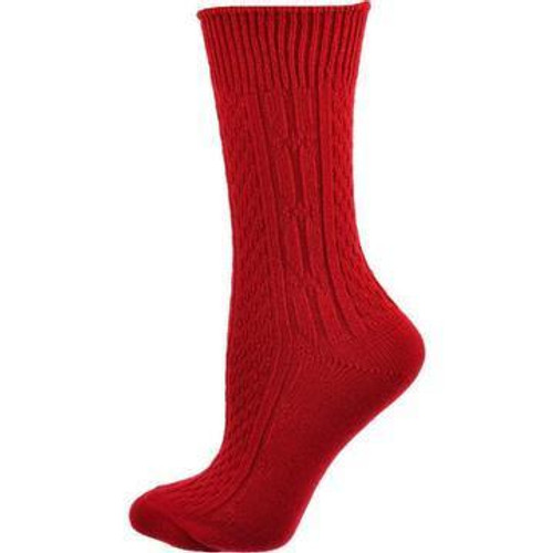 Comfortable Classic Cable Knit Acrylic Crew 2 pair pack Socks