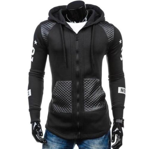 Mens Street Style Biker Zipped Up Hoodie