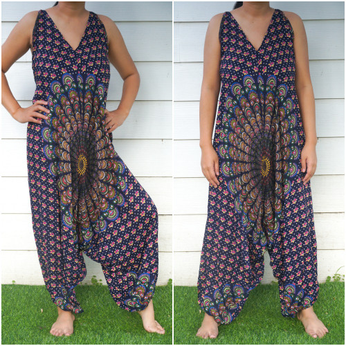 Comfortable  Blue Chakra Hippie Boho Jumpsuits Rompers