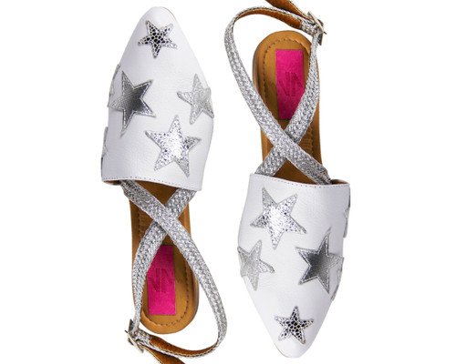 SALLY ANKLE STRAP MULE POINTY TOE UNIQUE FLATS WHITE