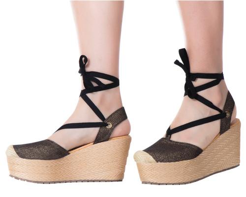 Fashionable Trendy Espadrille Sandals Silvia Cobos Black
