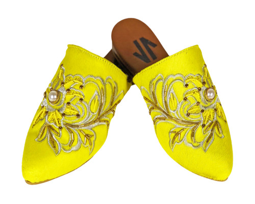 Trendy Embroidered Flat Mules Yellow
