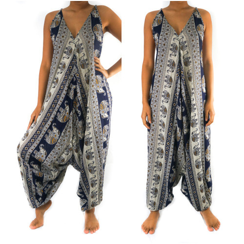 Soft and Breathable Blue Elephant Boho Hippie Jumpsuit Romper