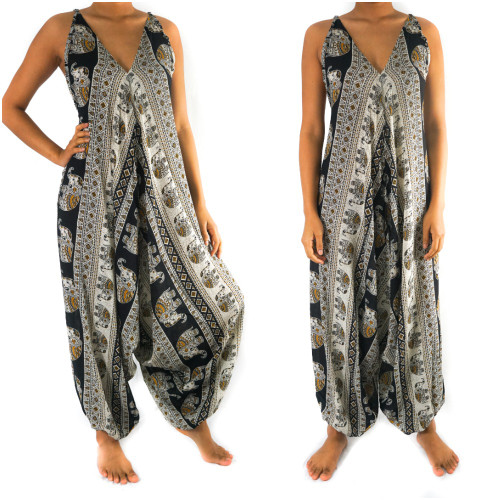 Soft and Breathable Black Elephant Boho Hippie Jumpsuit Rompers