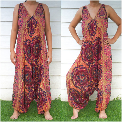 Soft and Breathable Orange Boho Hippie Rompers Jumpsuits
