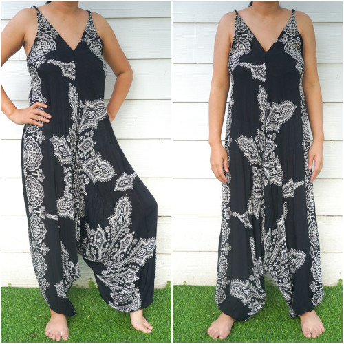Comfortable & Stylish Black Butterfly Hippie Jumpsuits Rompers