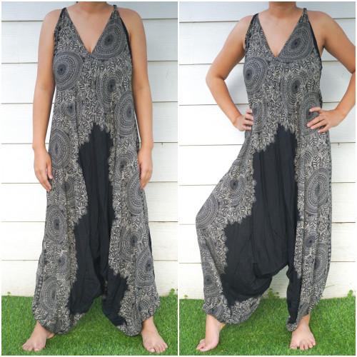 Comfortable & Stylish Black Lotus Boho Hippie Jumpsuit Rompers
