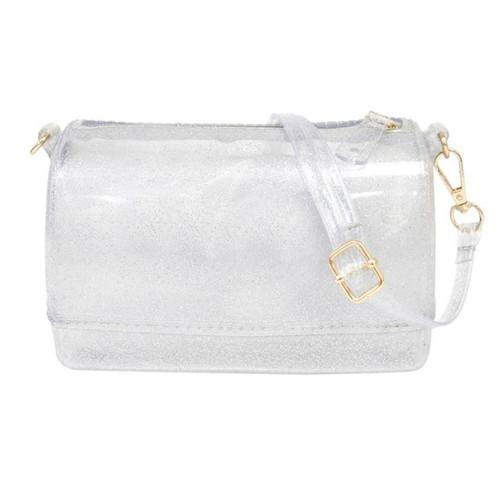 Silver Glitter Jelly Handbag Zipper Closure