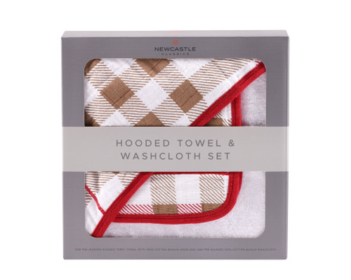 Plaid Soft Cotton Terry Hooded Towel and Washcloth Set