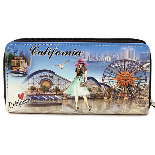 Wallet Around California With 8 credit Card Slots & an Inner Zipper