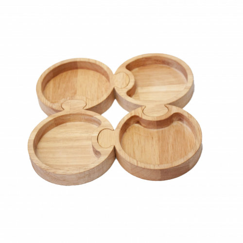 Eco-Friendly Natural Solid Wooden Round Puzzle Tray