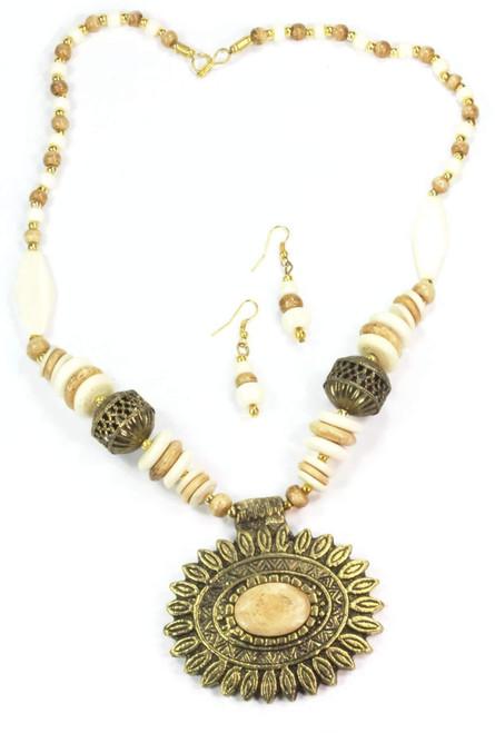 Beautiful Boho Themed Sun Mandala Flower Pendant Necklace & Earring Set
