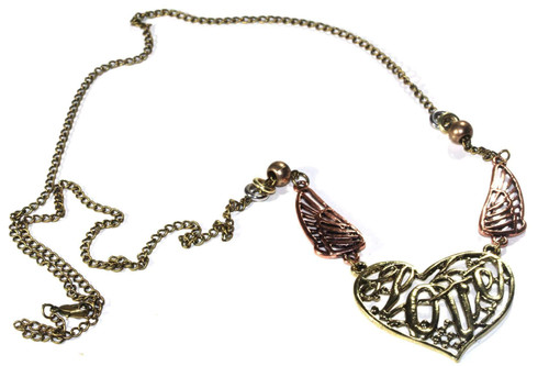 Antique Style Gold Tone Soaring Love & Angel Wings Necklace