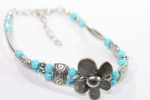 Silver Petal Flowers Silver Tone Beads Bracelet