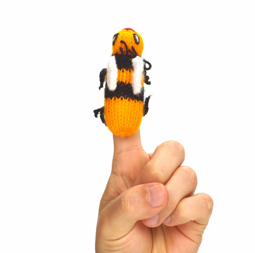 Handmade and Eco-Friendly Yellow Queen Bee Finger Puppet