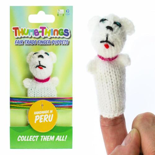 Handmade White Polar Bear Finger Puppet