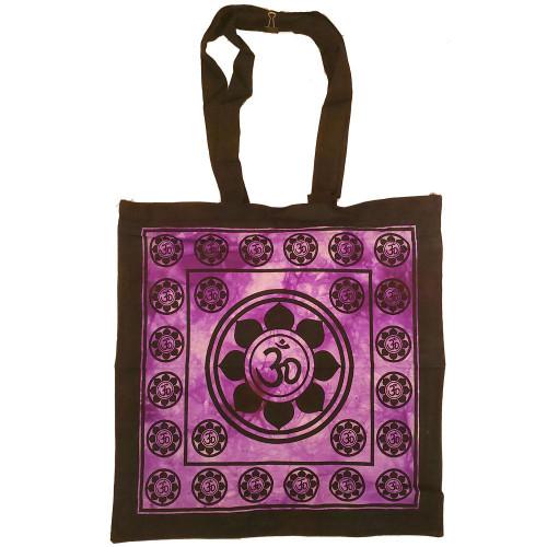 Aum Sanskrit Symbol Lotus Chakra Tie Dye Market Cotton Tote Bag Canvas Graphic