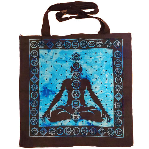 Seven Chakras Avatar Meditation Tie Dye Market Tote Bag Canvas Graphic