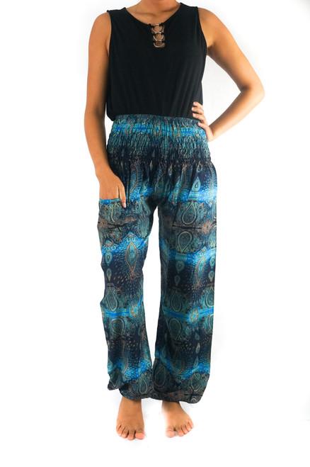 Stylish Turquoise Paisley Harem Hippie Boho Paisley Pants