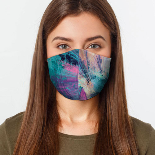Abstract Colors 2 Layers Face Cover