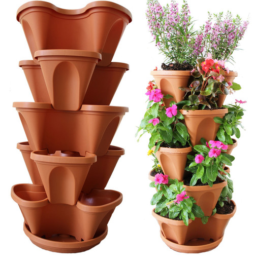 Eco-Friendly Nature's Distributing Stacking Planters - 5 Tier