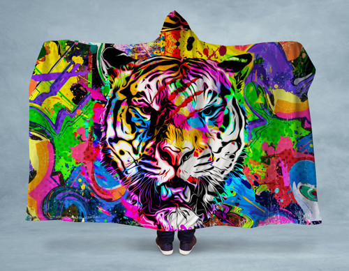 Abstract Tiger Hooded Blanket With Premium Sherpa