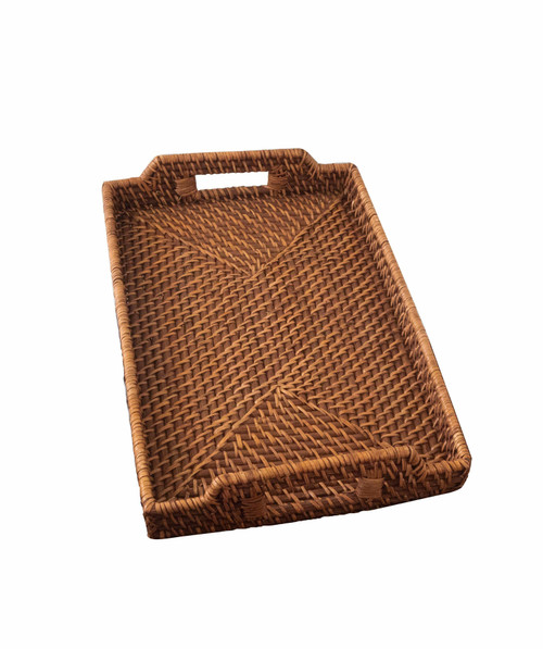 Rattan Wicker Serving Trays with Handles For Breakfast, Food, Coffee, Bread Serving Baskets (12x17)