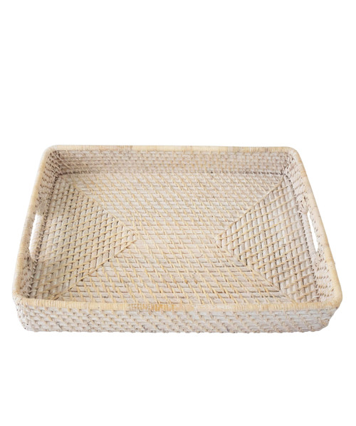 MadeTerra Rattan Wicker Woven Serving Trays with Handles (13x18)