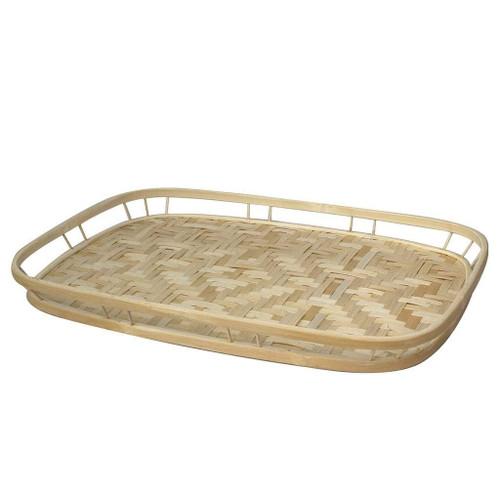 Bamboo Wicker Handwoven & Decorative Serving Trays With Handles Trays For Dining Table
