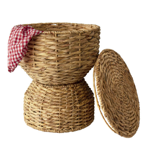Multipurpose Woven Stool | Wicker Seat, Sofa Table  & Basket for Storage  with Lid