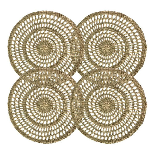 Made Terra Round Round Seagrass Placemats, Table Decoration Charger Plate Alternative (Set 4)