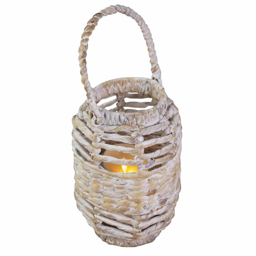 Durable Steel Frame Wicker Candle Holder Lantern with Handle