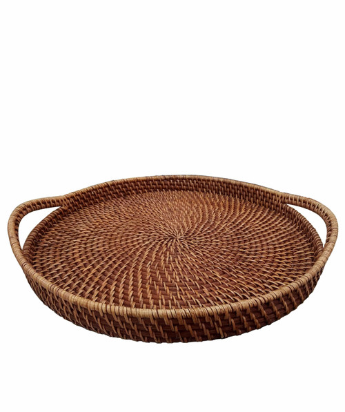 Round Wicker Serving Trays with Handles For Serving & Tabletop Display