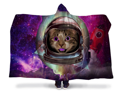 Astro Cat Hooded Blanket With Premium Sherpa