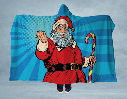 Christmas Claus Hooded Blanket With Premium Sherpa