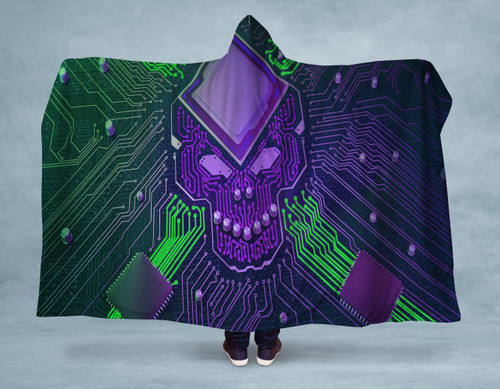 Electro Skull Hooded Blanket With Premium Sherpa