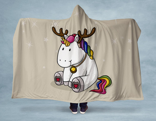 Holiday Unicorn Hooded Blanket With Premium Sherpa