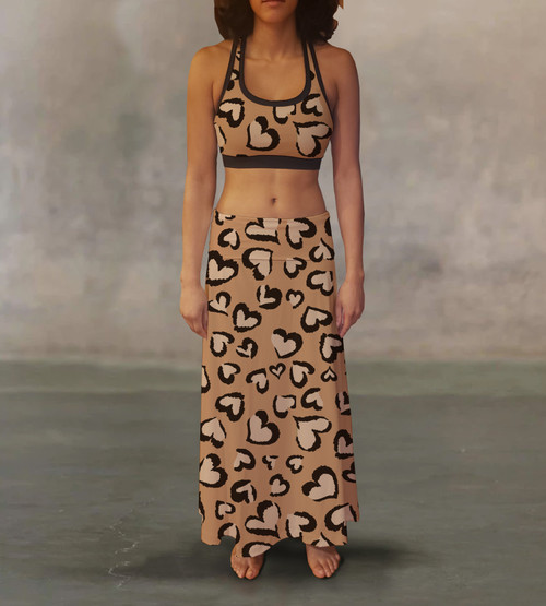 Leopard Hearts Maxi Skirt For A Different Look