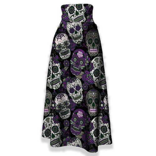 Maxi Purple Sugar Skulls Skirt For A Different Look