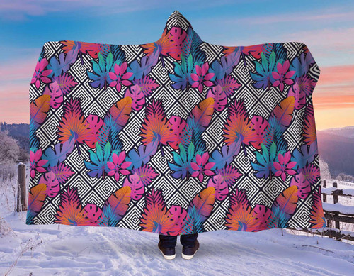 NEON Tropical Leaves Amazing Softest Hooded Blanket