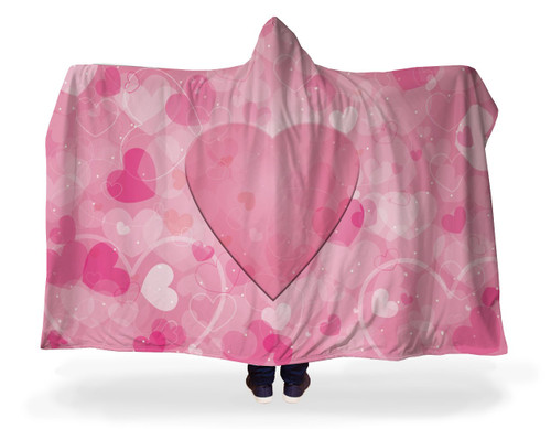 Pink Hearts Hooded Blanket With Premium Sherpa