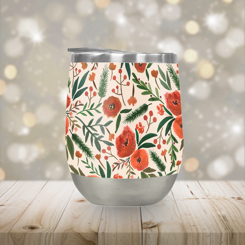 Stainless Steel Christmas Floral Stemless Wine Tumbler