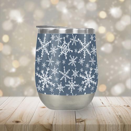Blue Snowflakes Stemless Wine Tumbler