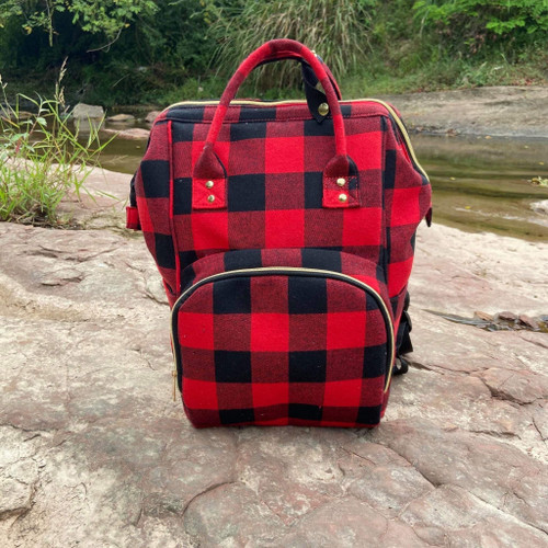 Backpack Diaper bag ~ Red/Black Plaid Excellent to Use
