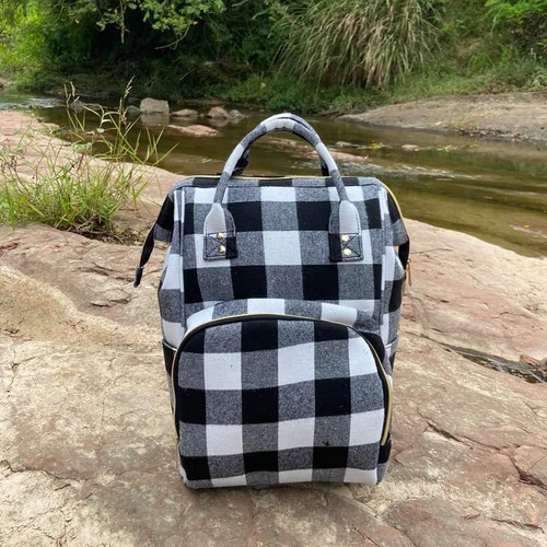 Backpack Diaper bag ~ Black/White Plaid Amazing Quality