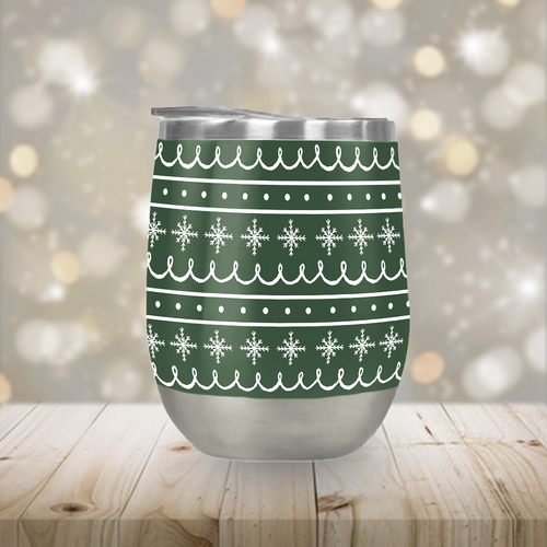 Green Snowflake Pattern Stemless Wine Tumbler