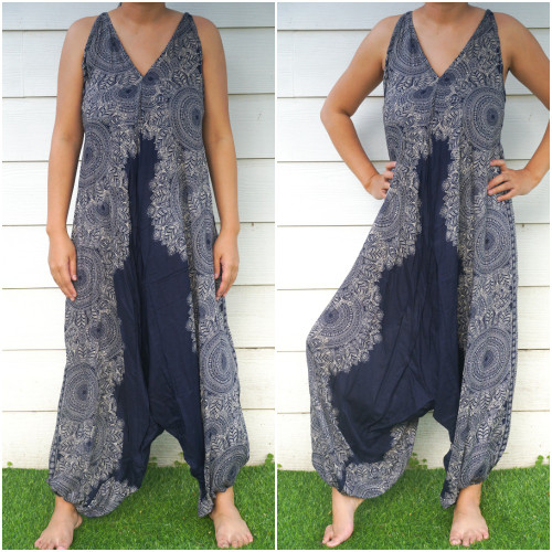 Soft and Breathable Blue Lotus Boho Hippie Rompers